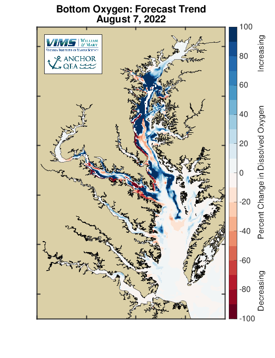 The forecast trend shows areas of increasing dissolved oxygen in blue and areas with decreasing levels in red. Units are in percent change per day.